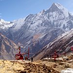 The Annapurna Sanctuary is a high glacial basin lying 40 km directly north of Pokhara.