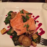 Salmon with grilled vegetables with a beet vinaigrette