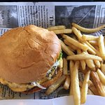 top photo of cheese burger