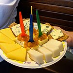 Delicious cheeses at the market