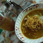 Khao soi moo and lotus root juice