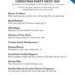 Our Christmas menu. We welcome parties up to 20 people, afternoon & evening.