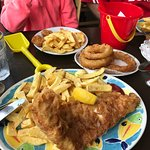 Meal in a bucket for the kids. Well battered onion rings & crispy fish and chips for the grown u