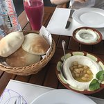 juice, garlic plate, breads, hummus!