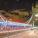 Bus trails on the Tower Bridge