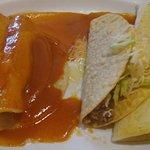 Chicken quesadilla, chicken enchiladas, taco. $7