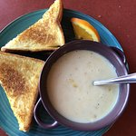 Grilled cheese and delicious corn chowder