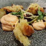 1ON19 Intermediate course: 'Prawn Mousse' served with tonka bean brioche, fennel, roasted quinoa