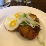 Chicken hash with fried eggs