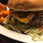 Volcano burger and sweet potato fries