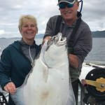Pam's 35# halibut with Captain Doug..(she brought it in herself !!)