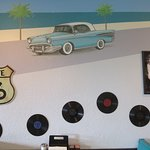 Diner walls adorned with 78 rpm disks