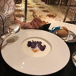 Stracciatella with egg and purple chips
