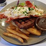 Steak with a half lobster mornay on Fathers day Yum!