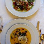 Pumpkin soup and salad