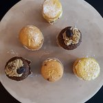 Our mini coffee & walnut, mini lemon drizzle, and mini Victoria sponge cakes