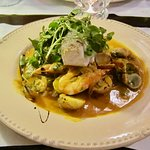 Grouper with shrimp and curry sauce.