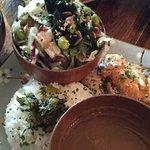 Teriyaki chicken, chicken curry, rice and yummy salad