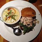 Chowder & Crab/shrimp sandwaich