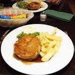 chicken & mushroom Pie with chips and veg, Steak pie chips veg and mushy peas.