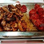 Chorizo y champiñones a la parrilla