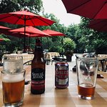 Happy hour at Anglers Inn's  outdoor seating