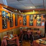 restaurant interior with wine rack