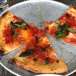 Margherita pizza with added pancetta. TO DIE FOR!
