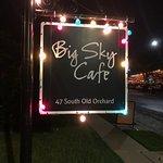 Big Sky Cafe sign at night