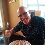 Enjoying a delicious birthday tiramisu