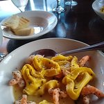 Tortellacci stuffed with butternut squash in lobster reduction w/ shrimp. Incredible!!!