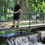 Bridge over a small waterfall