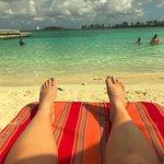 Sitting on the beach.