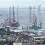Oil Platforms being built in Dundee from Dundee Law