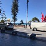 Onlooking the beach from a restaurent