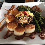 Pan-seared Diver Scallops with wild mushroom risotto, sautéed asparagus, & charred tomato coulis