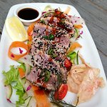 Chefs Special, Sesame Crusted Tuna Salad with tempura ginger