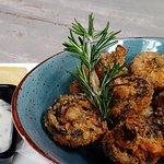 Crispy Crumbed Mushrooms with garlic aioli & blue cheese sauce