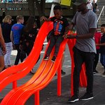 The bench/slide invites creativity and imagination