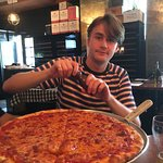 One huge pizza