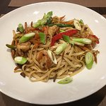 Wok scampi with noodles