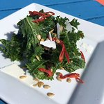 Local kale salad topped with smoked capelin