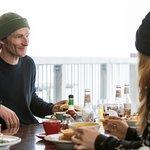 Enjoying a meal at Knoll Ridge Cafe, Mt Ruapehu