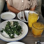 Kale salad and Pear and Orange juices