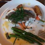 Seared sea trout, corn and broad bean succotash, grapefruit and carrot salad