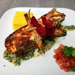 Traditional Bobotie on creamed spinach & roast butternut with yellow rice