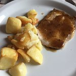 Pork loin with truffle sauce and roeasted potatoes