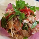 Pork belly and lotus root salad
