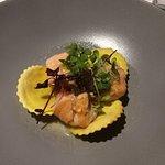 saumon, ravioles et sauce champagne