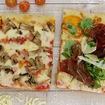 Porciones de pizza al estilo romano